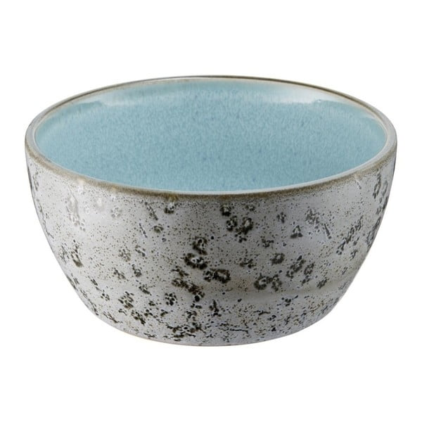 Šedá kameninová miska s vnitřní glazurou v bledě modré barvě Bitz Mensa, průměr 12 cm