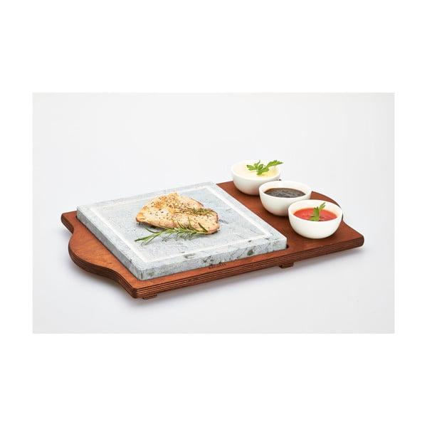 Taca do serwowania z kamienną deską i miskami Bisetti Stone Plate, 48x30 cm
