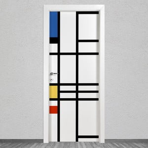 Samolepka na dveře LineArtistica Mondrian 3, 80 x 215 cm