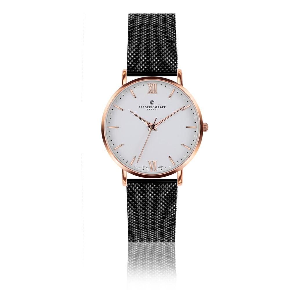 Unisex hodinky s páskem z nerezové oceli v růžovozlaté barvě Frederic Graff Dent Blanche Black Mesh
