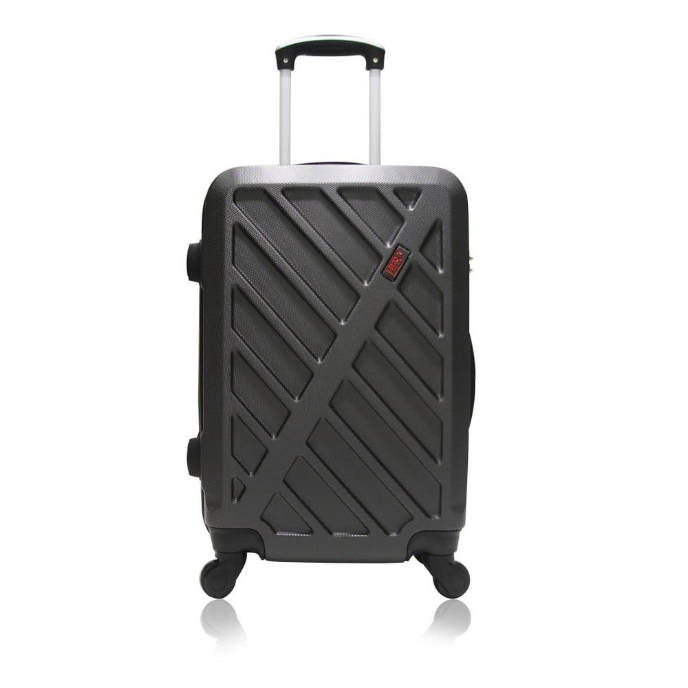 Tmavě šedý kufr na kolečkách Hero Lock, 36 l