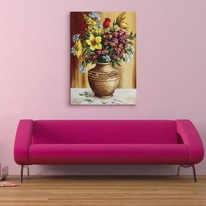 Obraz na plátně Váza pestrobarevných květin, 50x70 cm