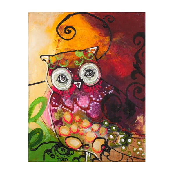 Freja Owl Multicolor, 28x22 cm, tetraptych