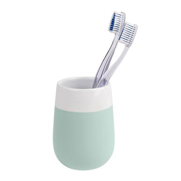 Zeleno-biely keramický pohárik na zubné kefky Wenko Matta