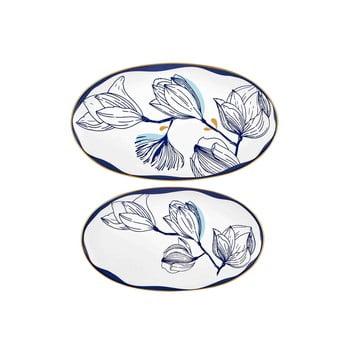 Set 2 farfurii din porțelan cu model de flori albastre Mia Bleu, alb
