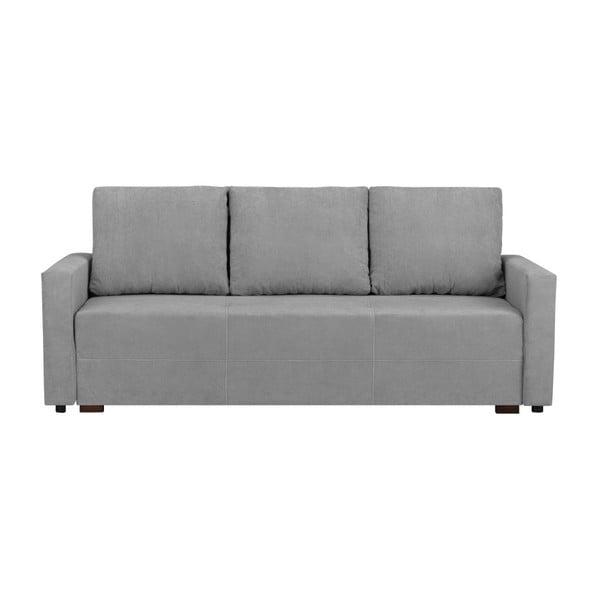 Francisco világos szürke háromszemélyes kanapé, ágyneműtartóval - Melart