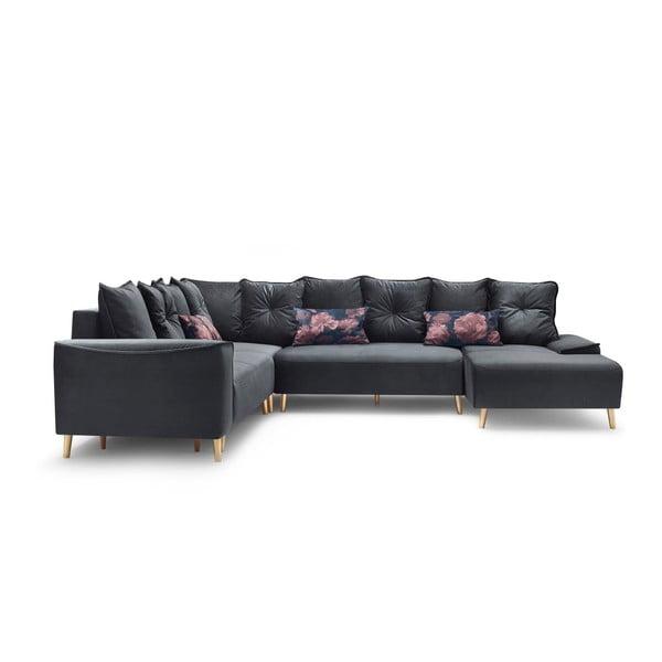 Canapea extensibilă, cu șezlong pe partea dreaptă Bobochic Paris Panoramique XXL Hera, gri
