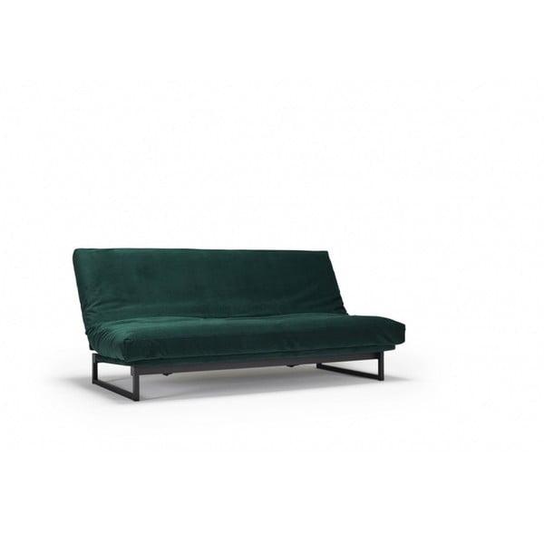 Tmavě zelená rozkládací pohovka se snímatelným potahem Innovation Fraction Velvet Forest Green, 97x200cm