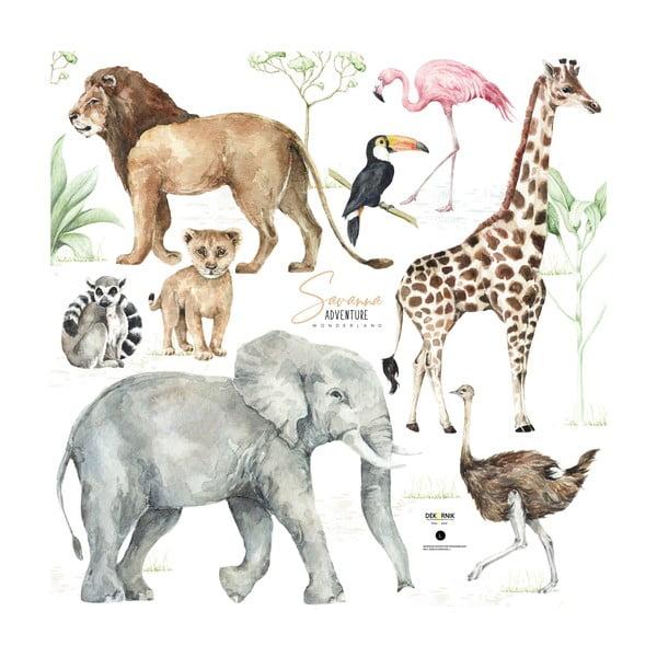 Savanna gyerek falmatrica állatmotívummal, 100 x 100 cm - Dekornik