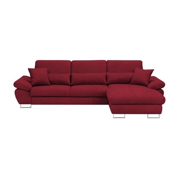 Červená rozkládací rohová pohovka Windsor & Co Sofas Pi, pravý roh