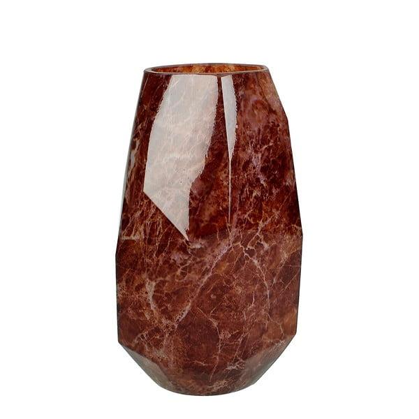 Červená skleněná váza s dekorem mramoru HF Living Alyssa