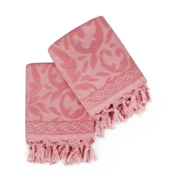 Sada 2 růžových ručníků Madame Coco Bohème, 50 x 90 cm