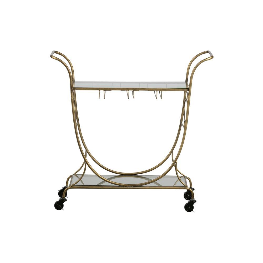 Skleněný servírovací vozík ve zlaté barvě BePureHome