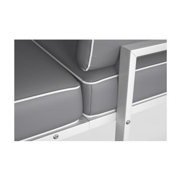 Světle šedá rohová pohovka s odnímatelnou podnožkou a bílým lemem Marie Claire Home