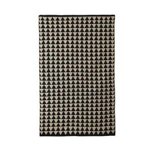Černo-béžový bavlněný ručně tkaný koberec Pipsa Triangle, 100x120 cm