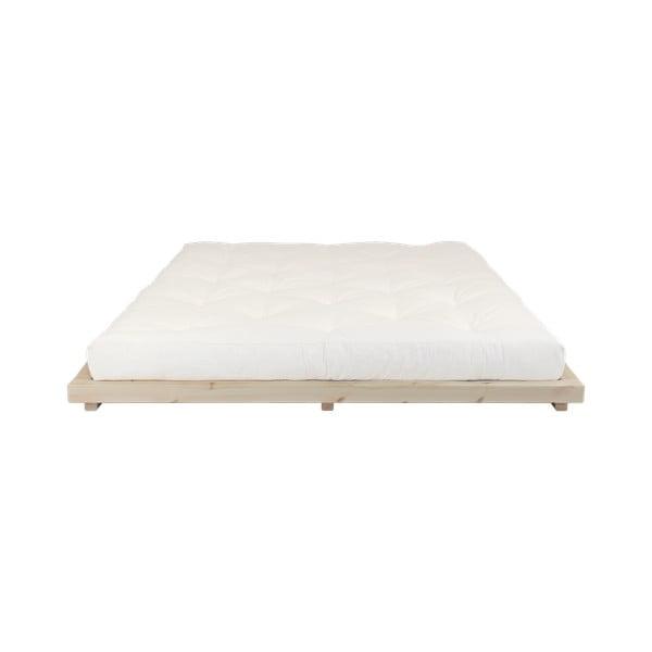 Łóżko dwuosobowe z drewna sosnowego z materacem Karup Design Dock Double Latex Natural Clear/Natural, 160x200 cm