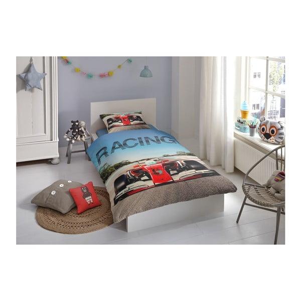 Lenjerie de pat din bumbac pentru copii Good Morning Racing, 140x200cm
