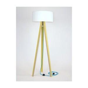 Žlutá stojací lampa s bílým stínítkem a tyrkysovým kabelem Ragaba Wanda