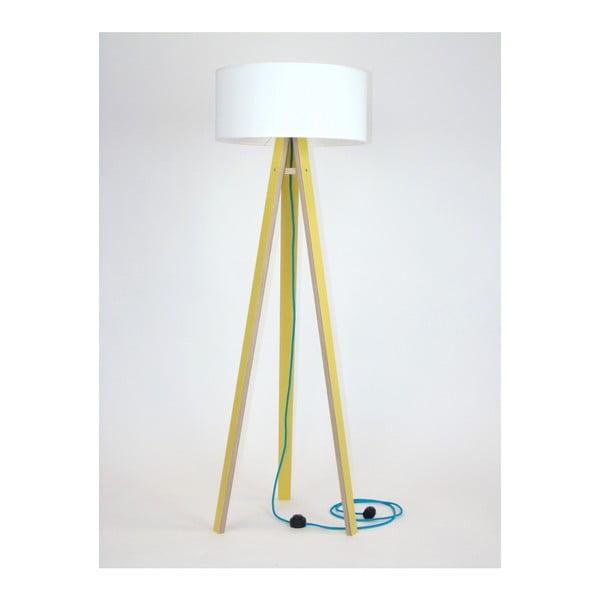 Wanda sárga állólámpa, fehér búrával és türkiz kábellel - Ragaba