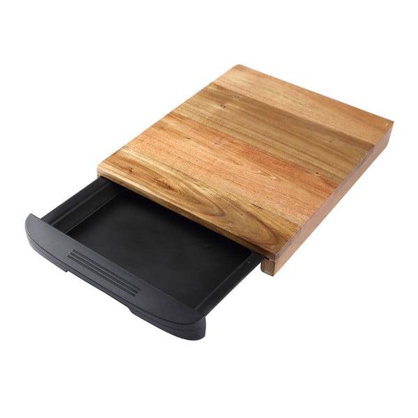 Tocător din lemn cu sertar Bergner Natural