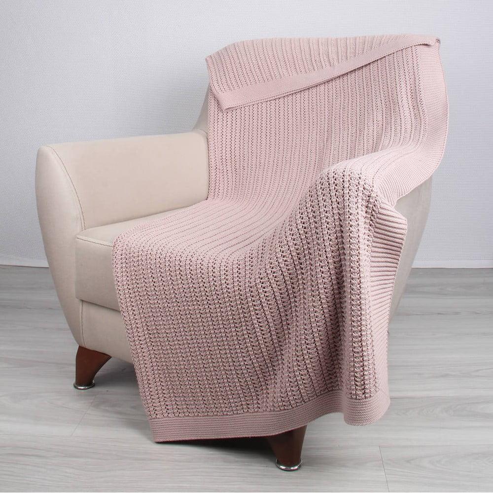 Růžová bavlněná deka Homemania Carla, 170 x 130 cm