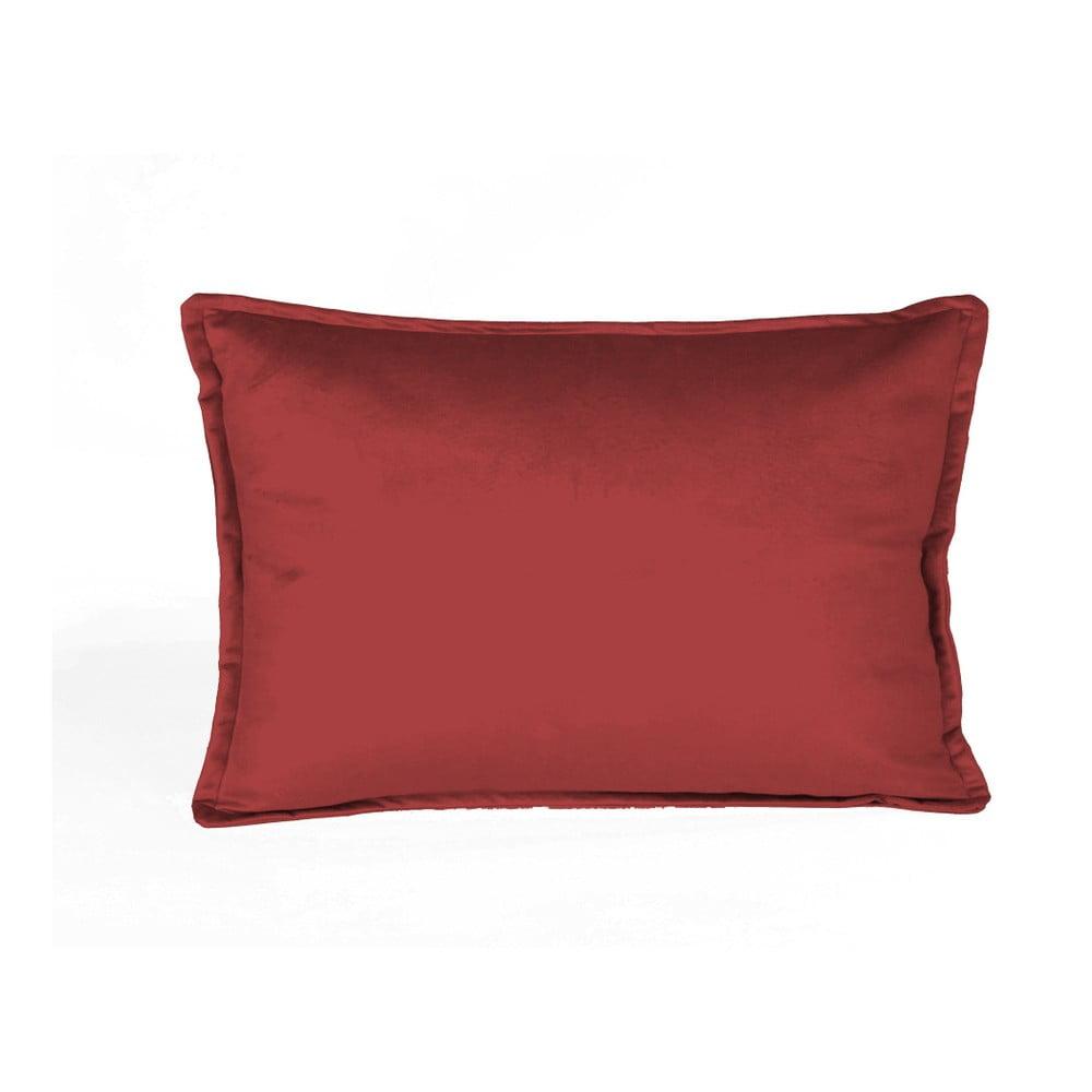 Cihlově červený dekorativní polštář Velvet Atelier, 50 x 35 cm