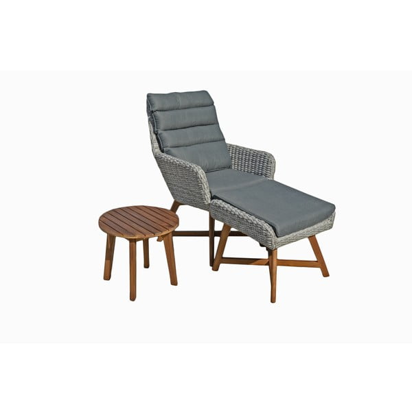 Caliva szürke kerti szék szett lábtartóval és asztallal - ADDU