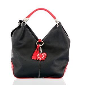 Černá kožená kabelka s detaily v červené barvě Glorious Black Amy