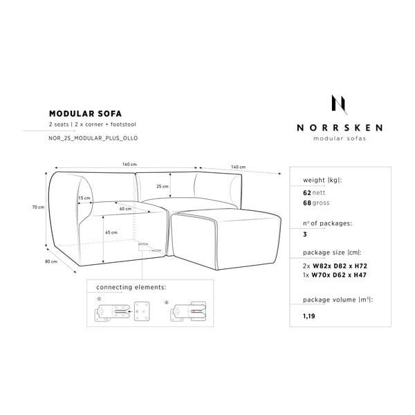 Béžová modulová dvoumístná pohovka s lenoškou Norrsken Ollo