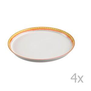 Sada 4 porcelánových talířů na pizzu Oilily 31 cm, žlutý okraj