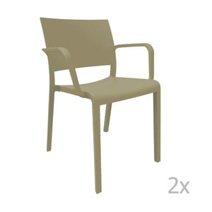 Sada 2 hnědých zahradních židlí s područkami Resol Fiona