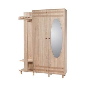Hnědá předsíňová stěna se zrcadlem Garmanto, výška 194 cm