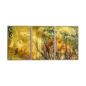 3dílný obraz Yellow Art, 45x90 cm