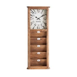 Hnědé hodiny ze železa a dřeva Last Deco