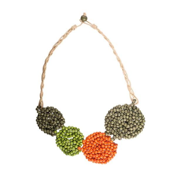 Náhrdelník Round, zeleno-oranžový