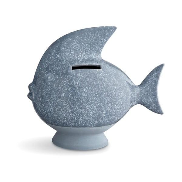 Pușculiță din gresie Kähler Design Moneybank Fish, albastru deschis