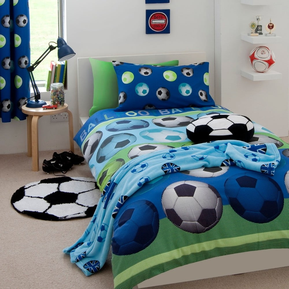 Dětské modré povlečení Catherine Lansfield Football, 135 x 200 cm