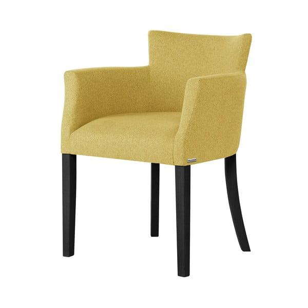 Santal citromsárga bükk szék fekete lábakkal - Ted Lapidus Maison