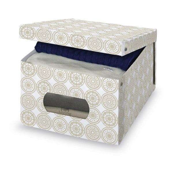 Béžový úložný box Domopak Ella, výška24cm