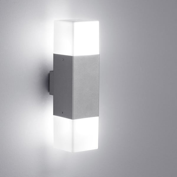 Světle šedé venkovní nástěnné svítidlo Trio Hudson, výška33 cm