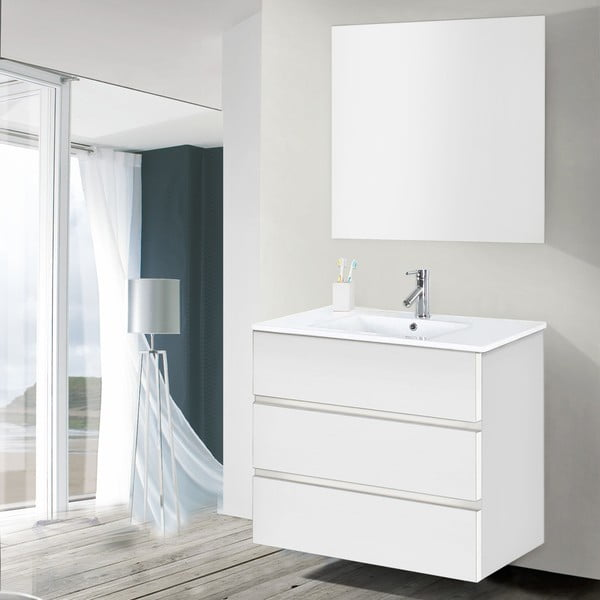 Koupelnová skříňka s umyvadlem a zrcadlem Nayade, odstín bílé, 80 cm