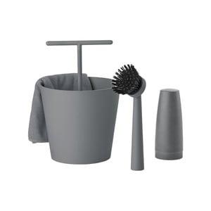 Šedý čtyřdílný set na mytí nádobí Zone Bucket