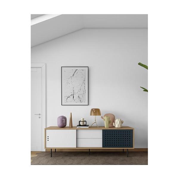 TV komoda v dekoru dubového dřeva s černobílými detaily TemaHome Dann Dots, délka 201cm