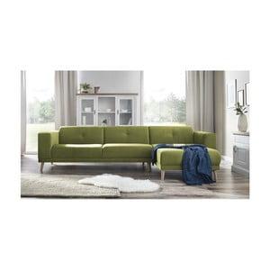 Canapea cu șezlong pe partea dreaptă și suport pentru picioare Bobochic Paris Luna, verde