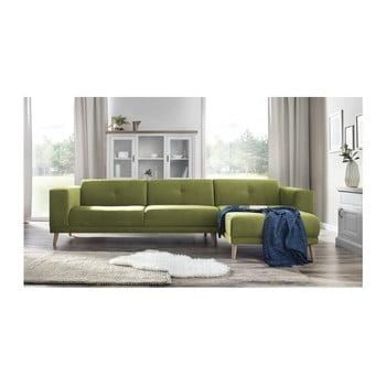 Canapea cu șezlong pe partea dreaptă Bobochic Elen verde deschis