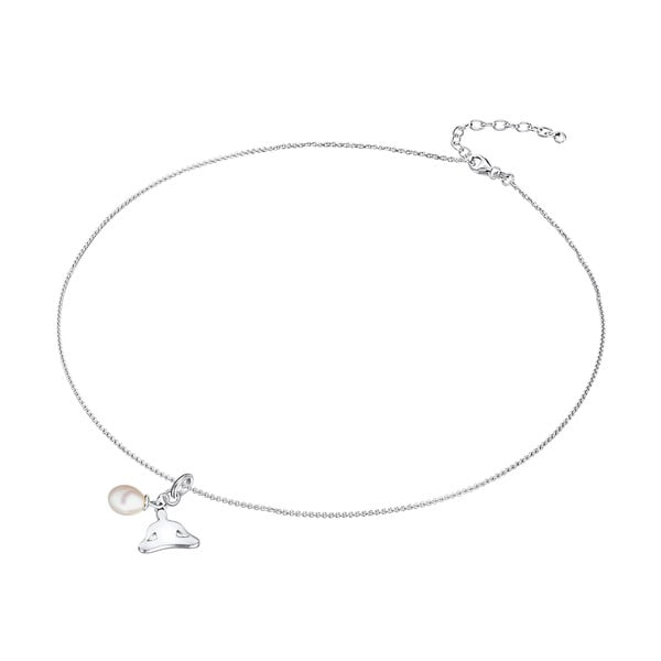 Stříbrný náhrdelník s přívěskem a perlou Chakra Pearls Lotus, 42 cm