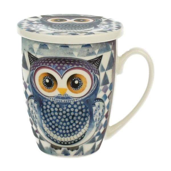 Porcelánový hrnek s víčkem a sítkem Duo Gift Owl, 320 ml