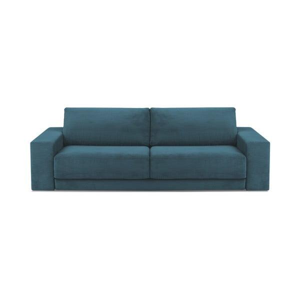 Canapea extensibilă din catifea reiată cu 3 locuri Milo Casa Donatella, turcoaz