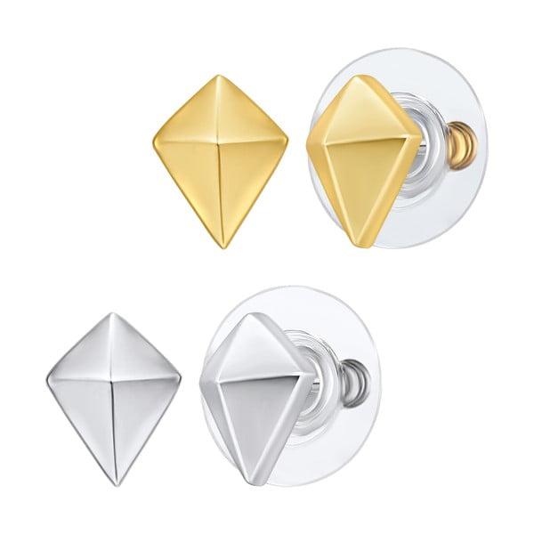 Sada 2 párů náušnic ve stříbrné a zlaté barvě Perldesse Astra