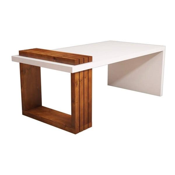 Biely konferenčný stolík s detailmi v dekore orechového dreva Muzzo Lago